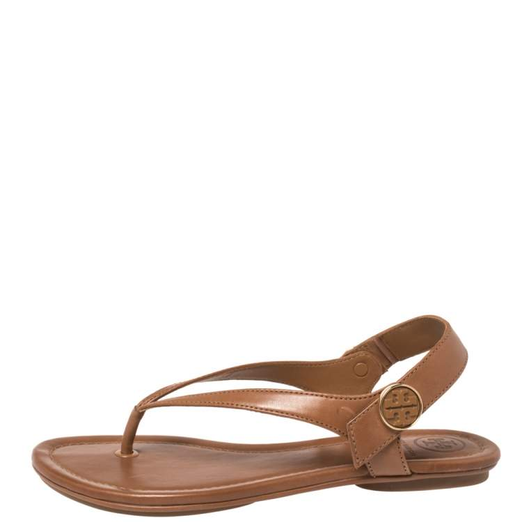 Tory Burch Brown Leather Minnie Sandals Size 35