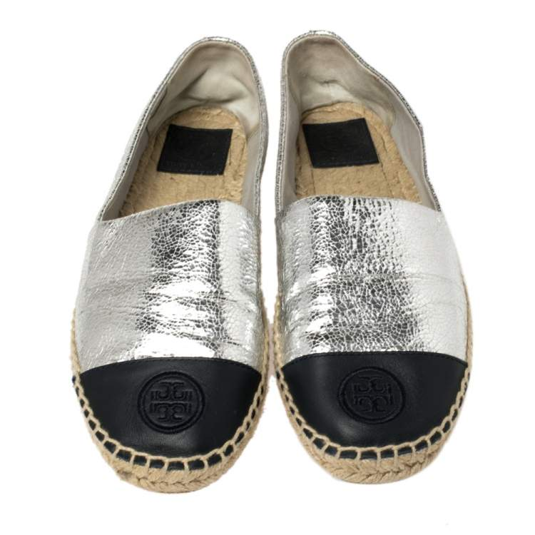 Tory Burch Silver Monogram Leather Cap Toe Espadrilles Size 39.5