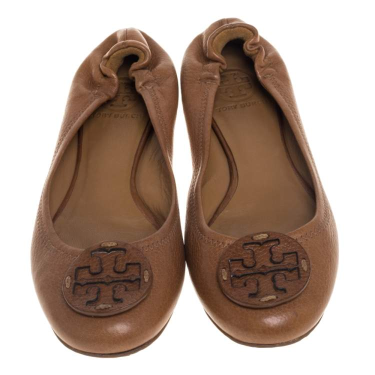 Tory Burch Tan Leather Scrunch Ballet Flats Size 38
