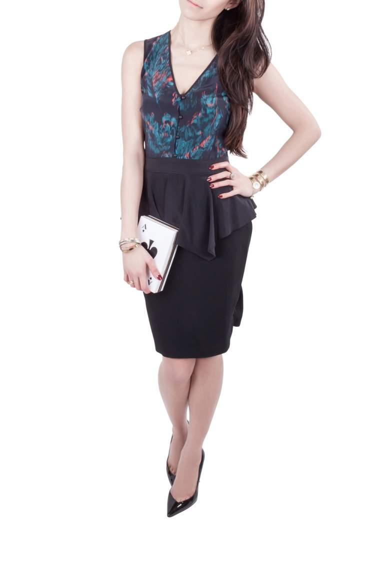 Marchesa Voyage Black Ikkat Print Silk Sleeveless Peplum Dress M