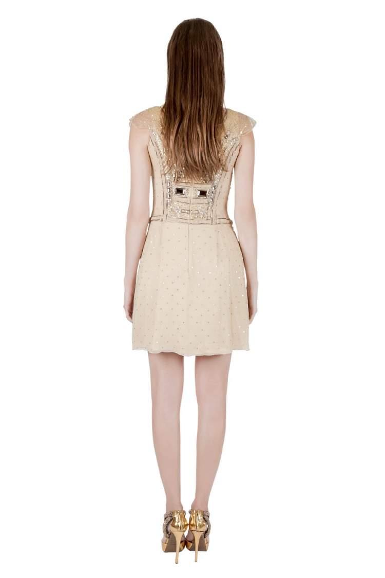 Carolina Herera Beige Plisse Crepe Embellished Tulle Cap Sleeve Dress S