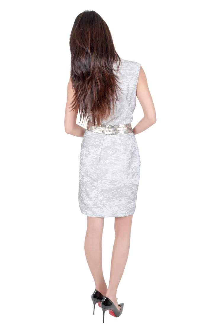 J Mendel Grey Cotton Waist Embellished Cocktail Dress M