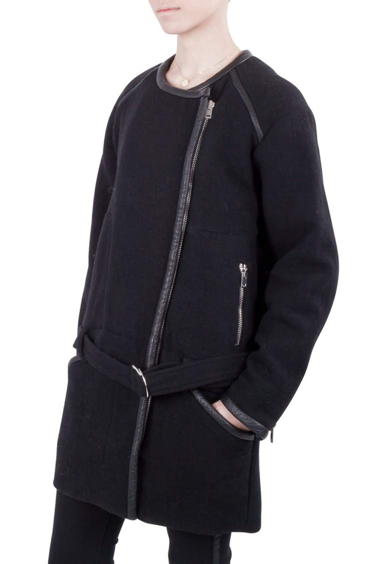 IRO Black Wool and Leather Trimmed Belted Marily Coat M