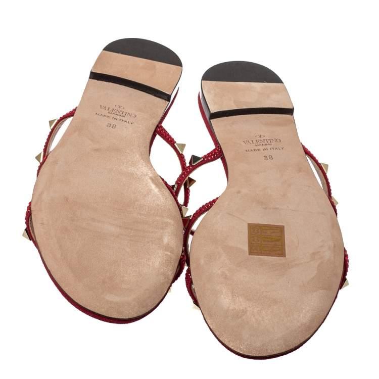 Valentino Scarlet Red Suede Crystal Embellished Rockstud Flat Slide Sandals Size 38