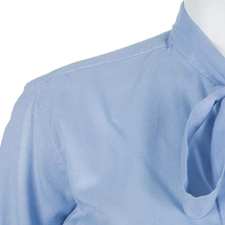 Valentino Blue Tie Neck Long Sleeve Shirt M