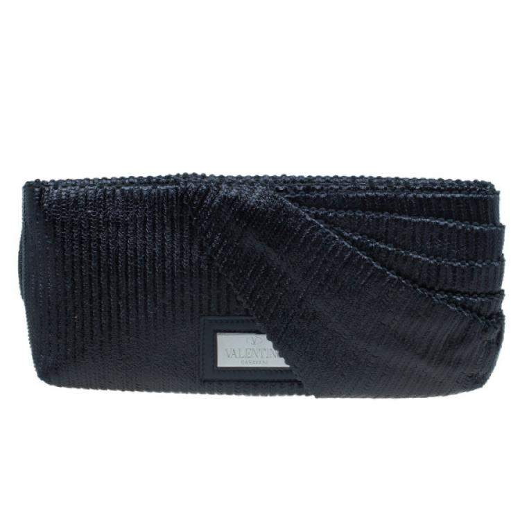 Valentino Black Pleated Oversized Bow Clutch Bag