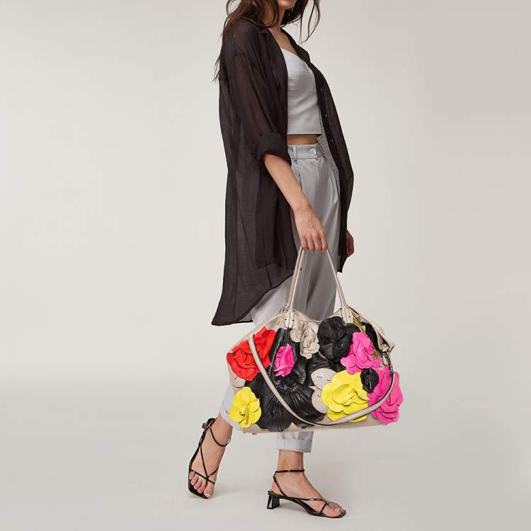 Valentino Grey Leather Floral Applique Tote