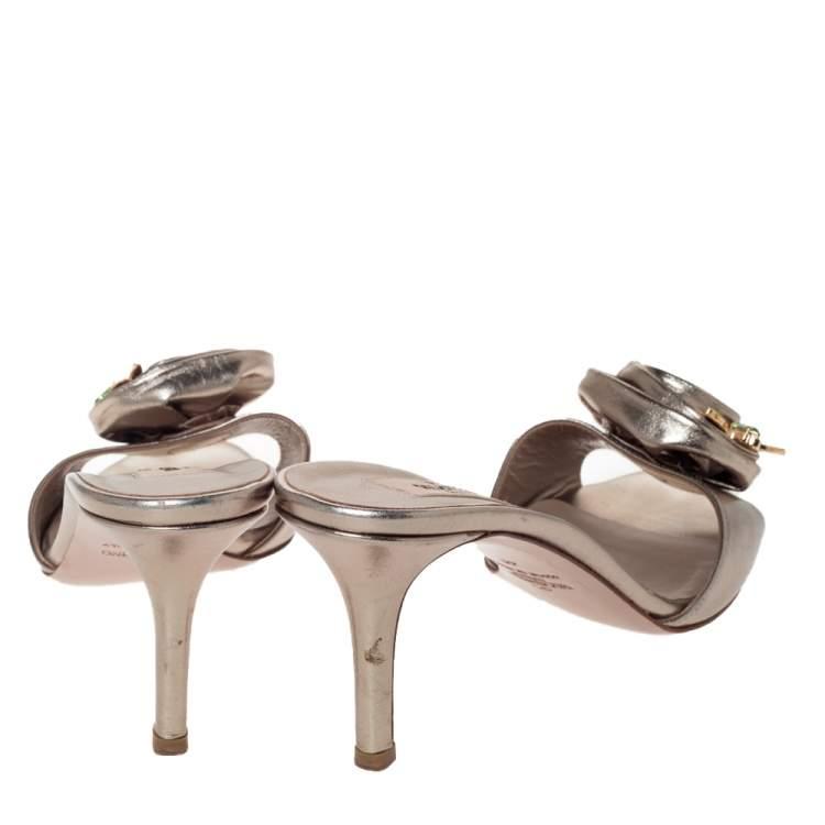 Valentino Metallic Leather Rose Applique Open Toe Sandals Size 41
