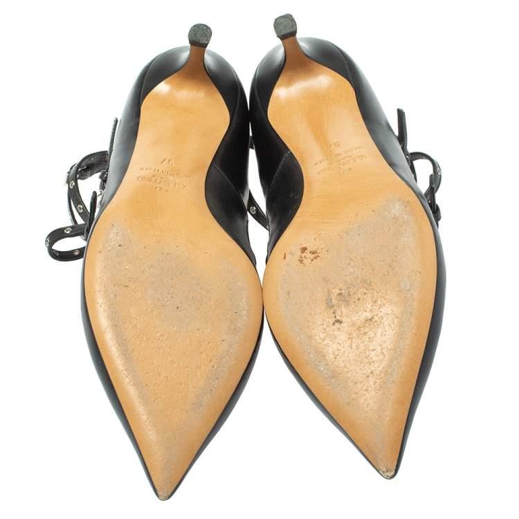 Valentino Black/Beige Leather Love Latch  Pumps Size 37