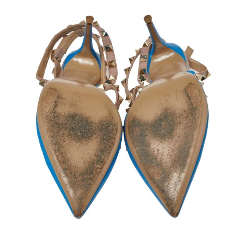 Valentino Blue Leather Rockstud Cage Sandals Size 39