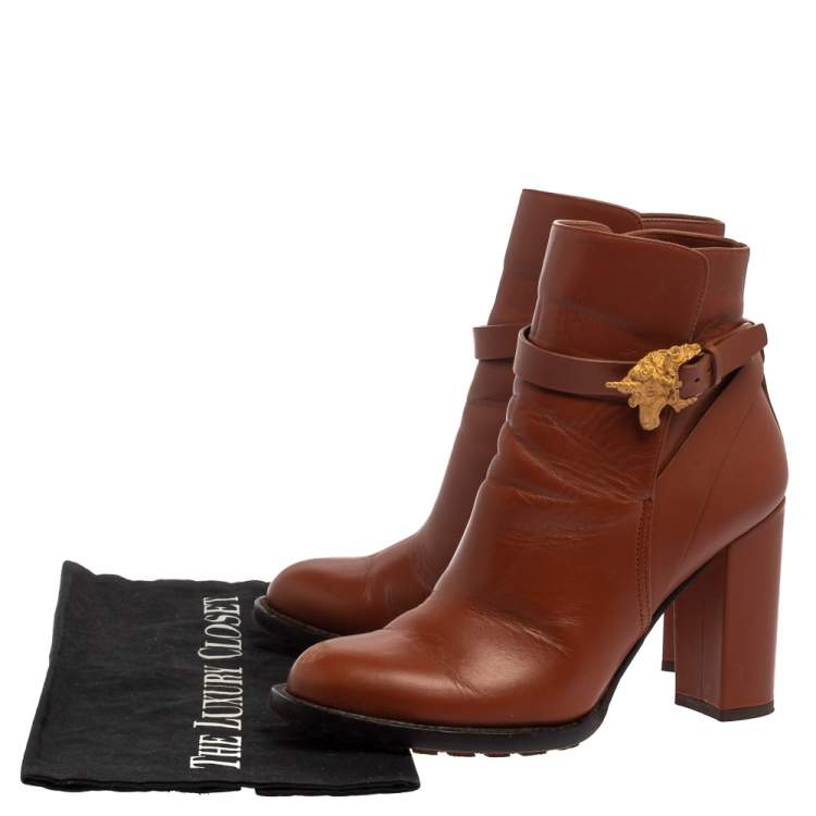 Valentino Brown Leather Unicorn Buckle Ankle Booties Size 37.5