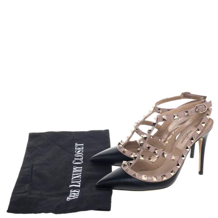 Valentino  Black/Beige Leather Rockstud Sandals Size 35.5