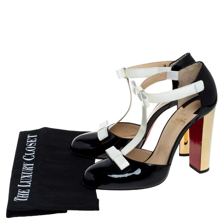 Christian Louboutin Black/Off White Patent Leather T Strap Pumps Size 40