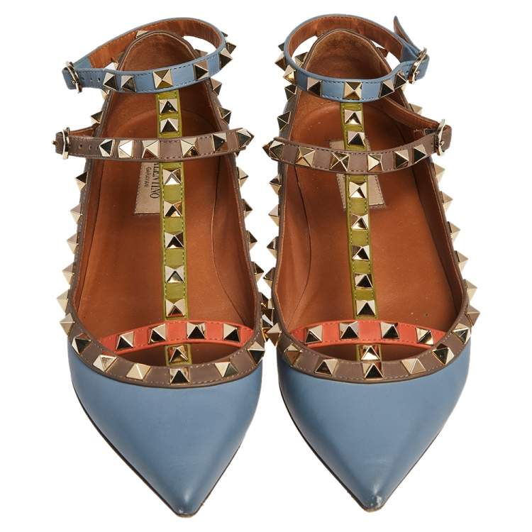 Valentino Multicolor Leather Rockstud Ankle Strap Ballet Flats Size 37
