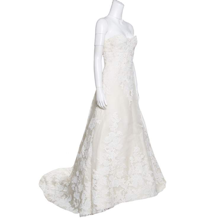 Vera Wang Luxe Cream Floral Lace Applique Embellished High Low Wedding Gown M