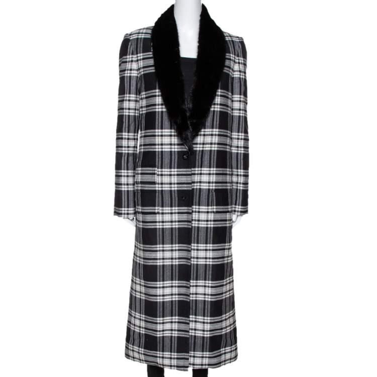 Versace Black Plaid Wool & Silk Mink Fur Trim Long Coat S