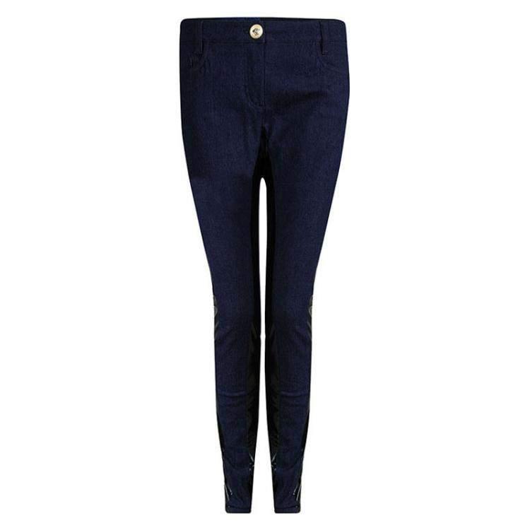 Versace Indigo Dark Wash Denim Contrast Paneled Jeans M