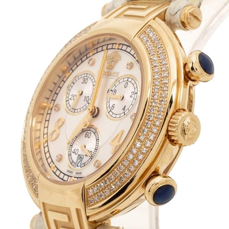 ساعة يد نسائية فيرساتشي ريفي 68C  ستانلس ستيل مطلي ذهب ألماس جلد ثعبان صدف بيضاء مقاس 40 مم