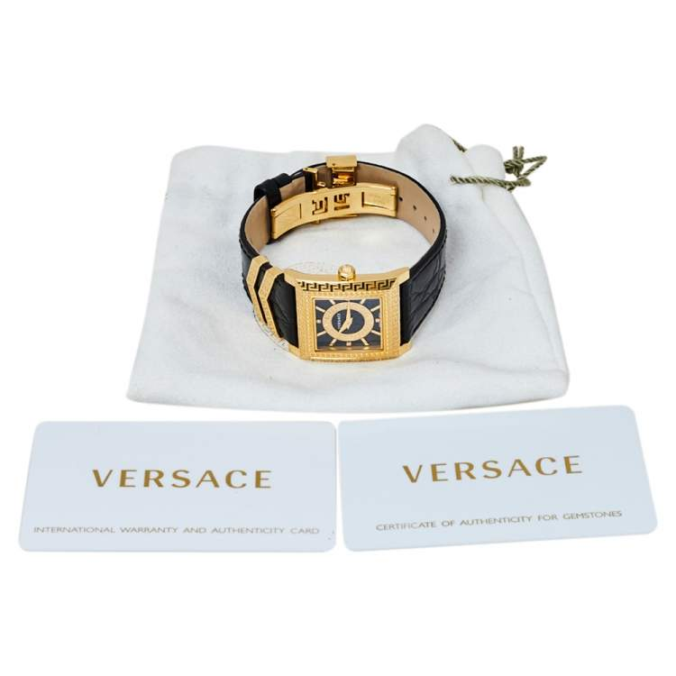 Versace Black Yellow Gold Plates Stainless Steel Diamond VD25 VQF020015 Women's Wristwatch 30 mm