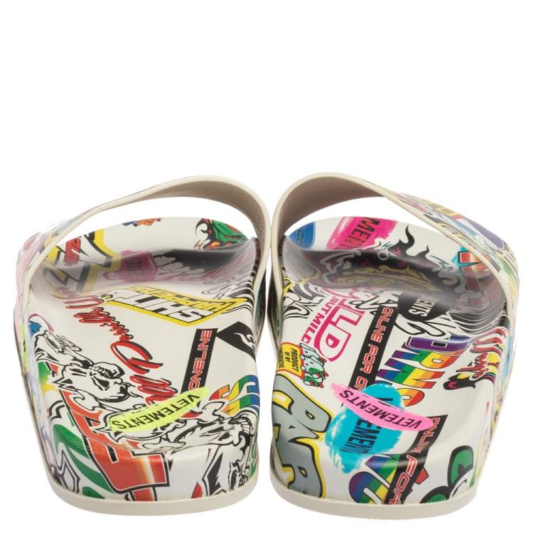 Vetements White/Multicolor Leather Sticker Slippers Size 39