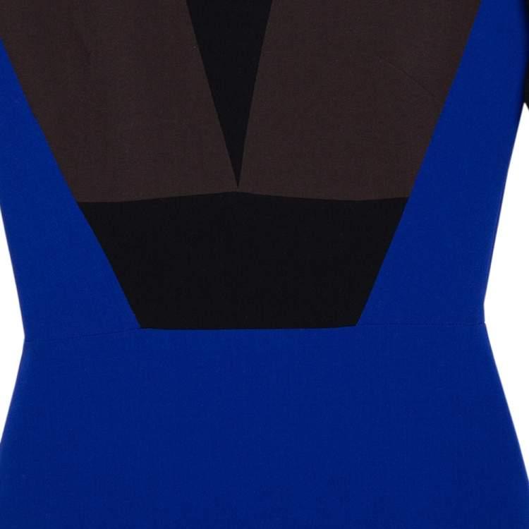 Victoria Beckham Color Block Crepe Sheath Dress S
