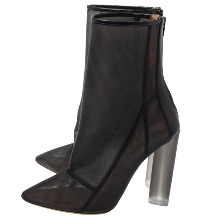 """حذاء بوت منتصف ساق ييزي """"سيزون 3"""" جلد و شبك أسود مقاس 41"""