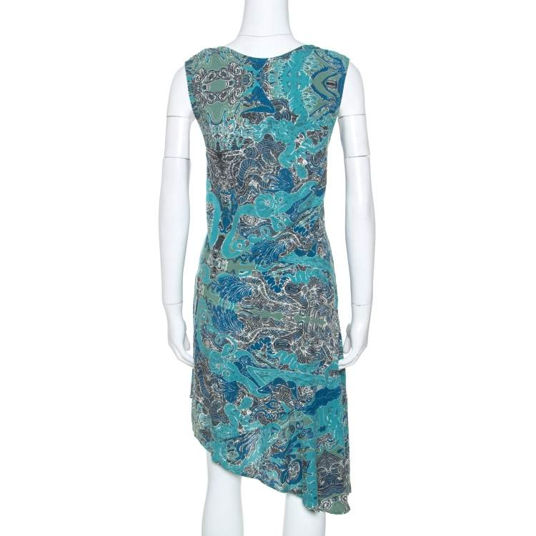 Zadig&Voltaire Blue Root Print Raw Edge Detail Dress XS