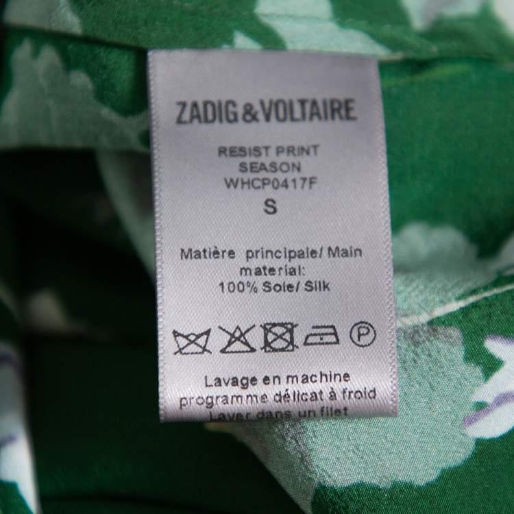 Zadig & Voltaire Green Resist Printed Silk Flared Mini Dress S