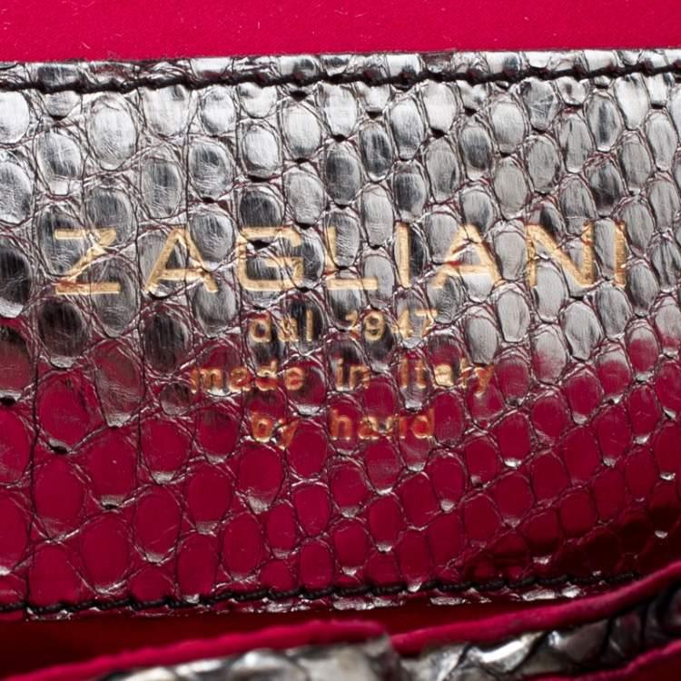 Zagliani Black/Grey Python and Fabric Puffy Tote