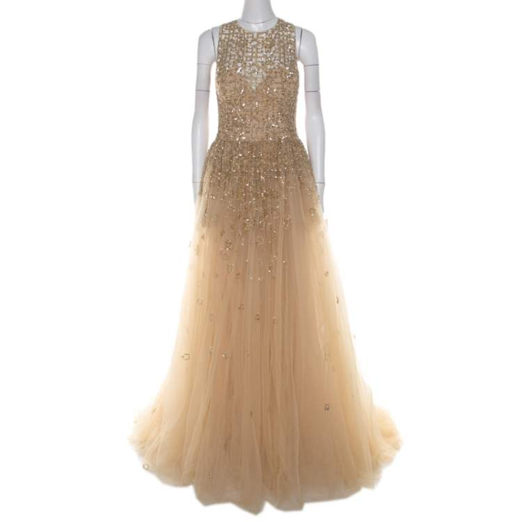 Zuhair Murad Toffee Cream Layered Tulle Embellished Sheer Yoke Evening Gown S