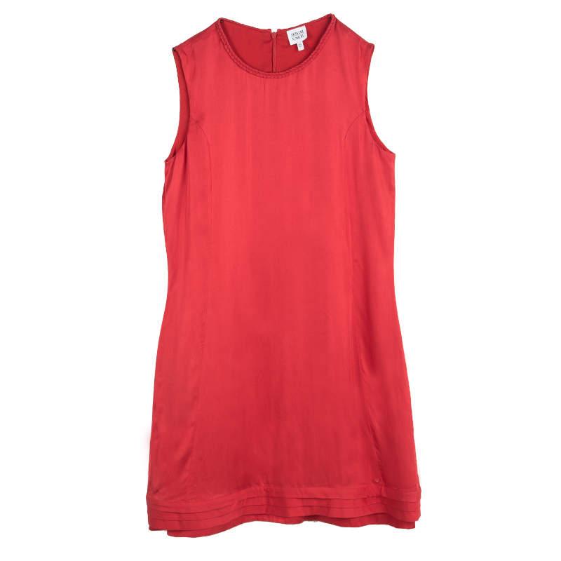 Armani Junior Red Braided Edging Detail Sleeveless Dress 16 Yrs