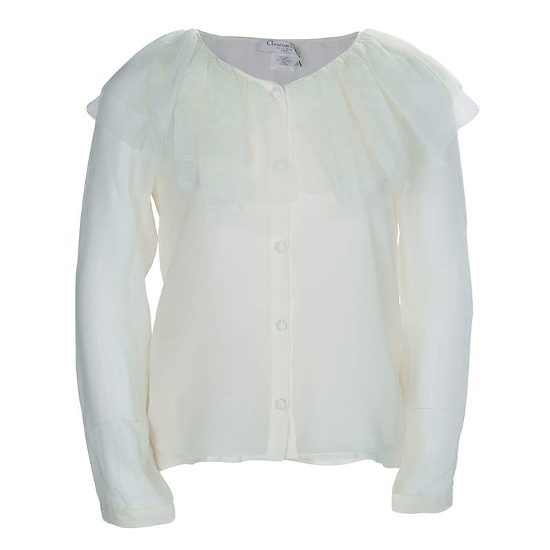 Baby Dior Cream Tulle Ruffle Detail Long Sleeve Silk Blouse 10 Yrs