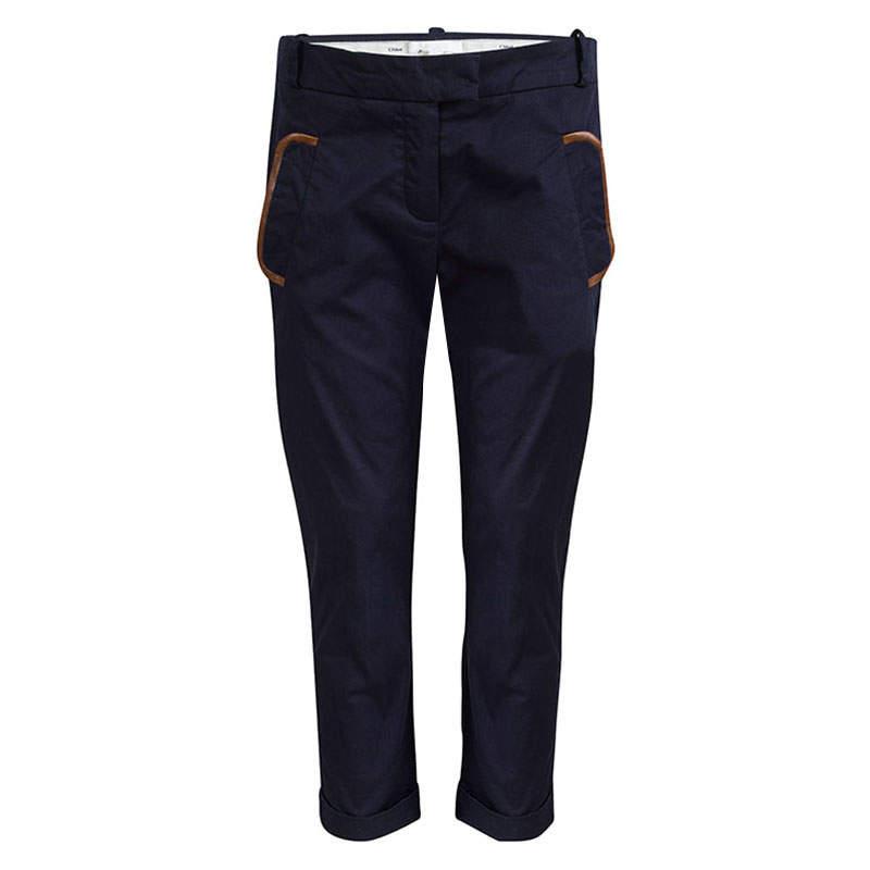 Chloe Navy Blue Pocket Flap Detail Trousers 10 Yrs
