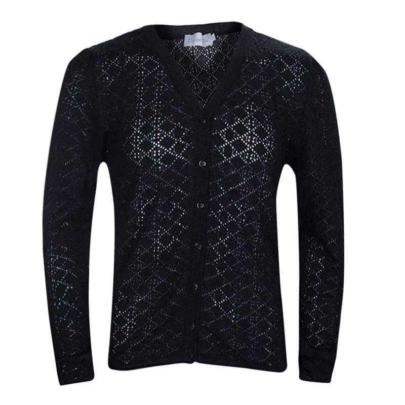 Dior Black Wool Perforated Diamond Pattern Buttondown Cardigan 10 Yrs