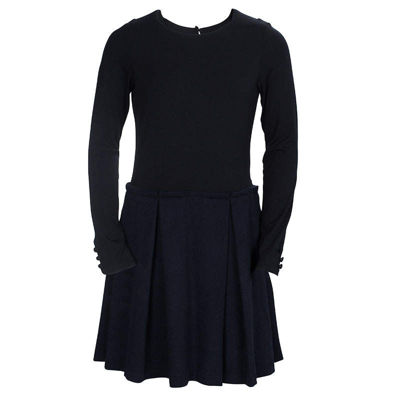 Dior Black Wool and Jersey Box Pleat Detail Long Sleeve Dress 10 Yrs