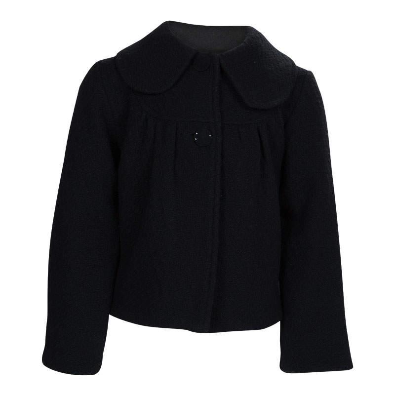 Dior Black Textured Wool Coat 6 Yrs