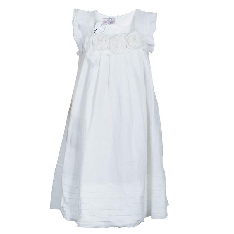 Scervino Street Girls White Rosette Detail Linen Dress 6 Yrs