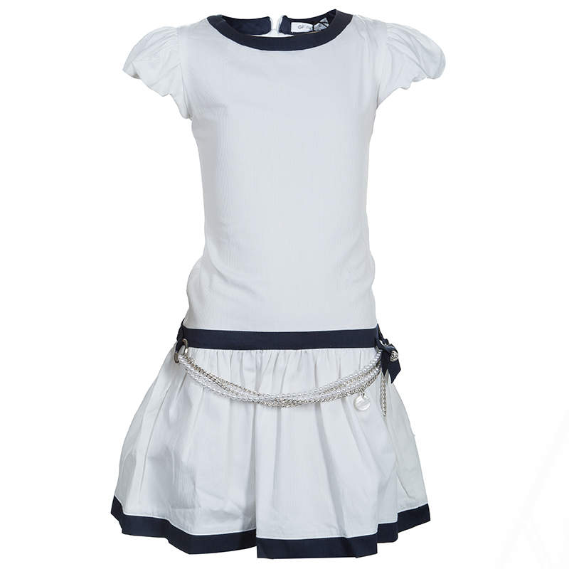 GF Ferre White Pearl Belted Short Sleeve Dress 6 Yrs