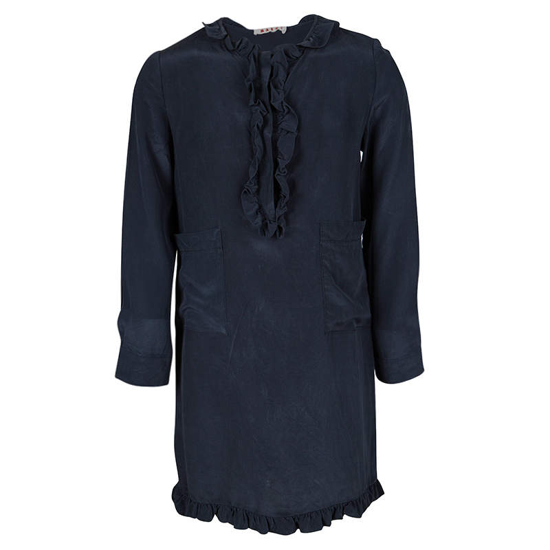 Marni Navy Blue Silk Ruffle Trim Detail Long Sleeve Dress 6 Yrs
