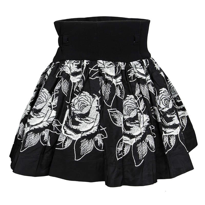 Monnalisa Monochrome Rose Emroidered Gathered Skirt 4 Yrs