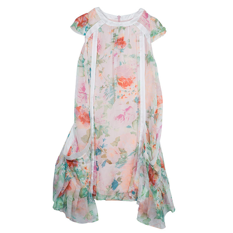 Roberto Cavalli Angels Multicolor Floral Print Silk Dress 10 Yrs