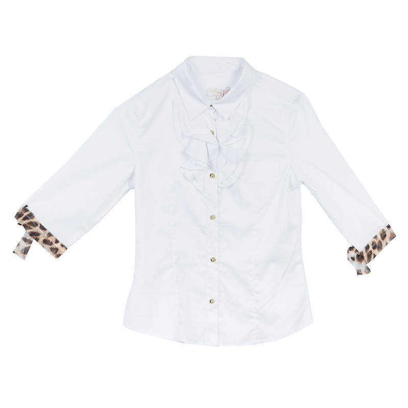 Roberto Cavalli Angels White Ruffle Neck Button Down Shirt 6 Yrs