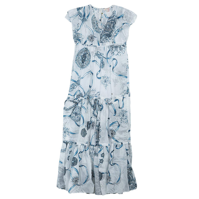 Roberto Cavalli Angels White Printed Tiered Maxi Dress 10 Yrs
