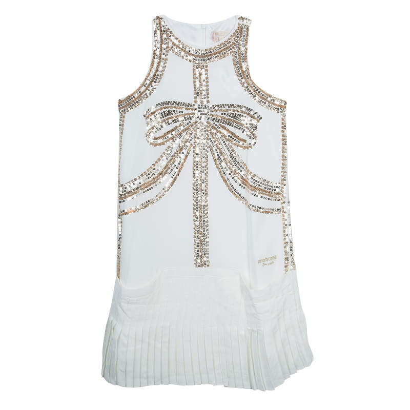 Roberto Cavalli Angels White Sequin Embellished Pleated Dress 10 Yrs