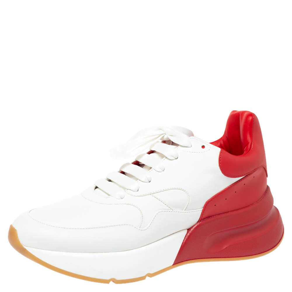 Alexander McQueen Red/White Leather Larry Oversized Low Top Sneakers Size 42