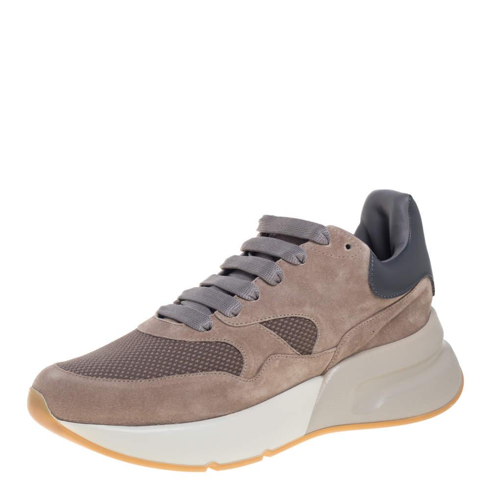 حذاء رياضى ألكساندر ماكوين منخفض من أعلى رانر رايسد شبك وجلد سويدى رمادى / بيج مقاس 42