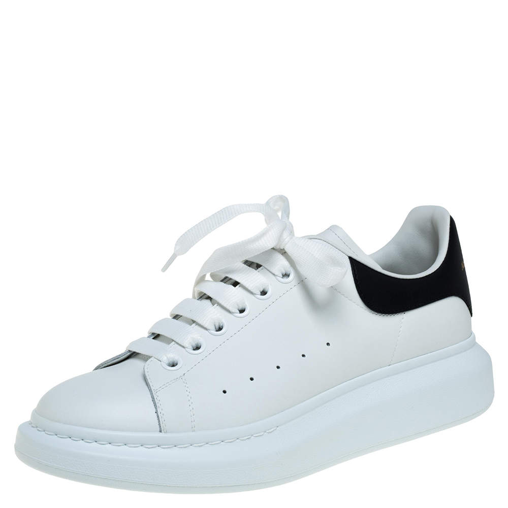 Alexander McQueen White Leather Larry Low Top Sneakers Size 42