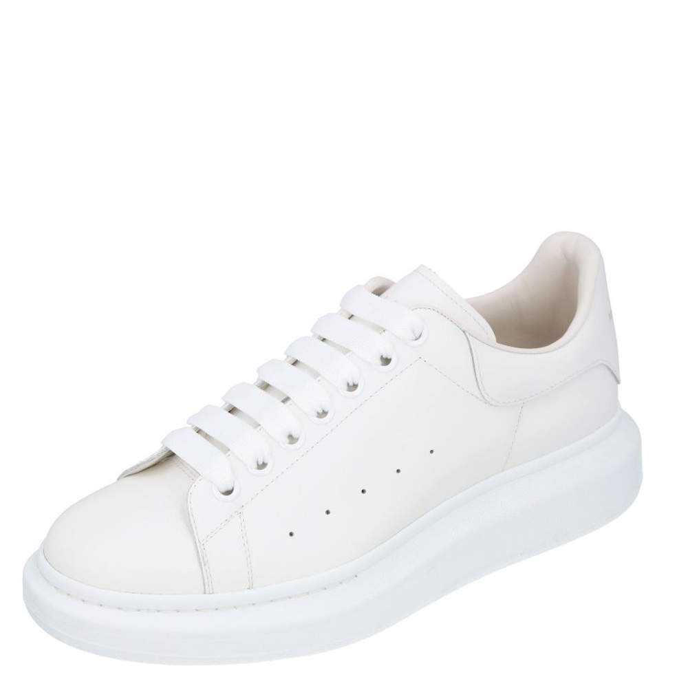 Alexander McQueen White Oversized Leather Sneakers Size EU 44