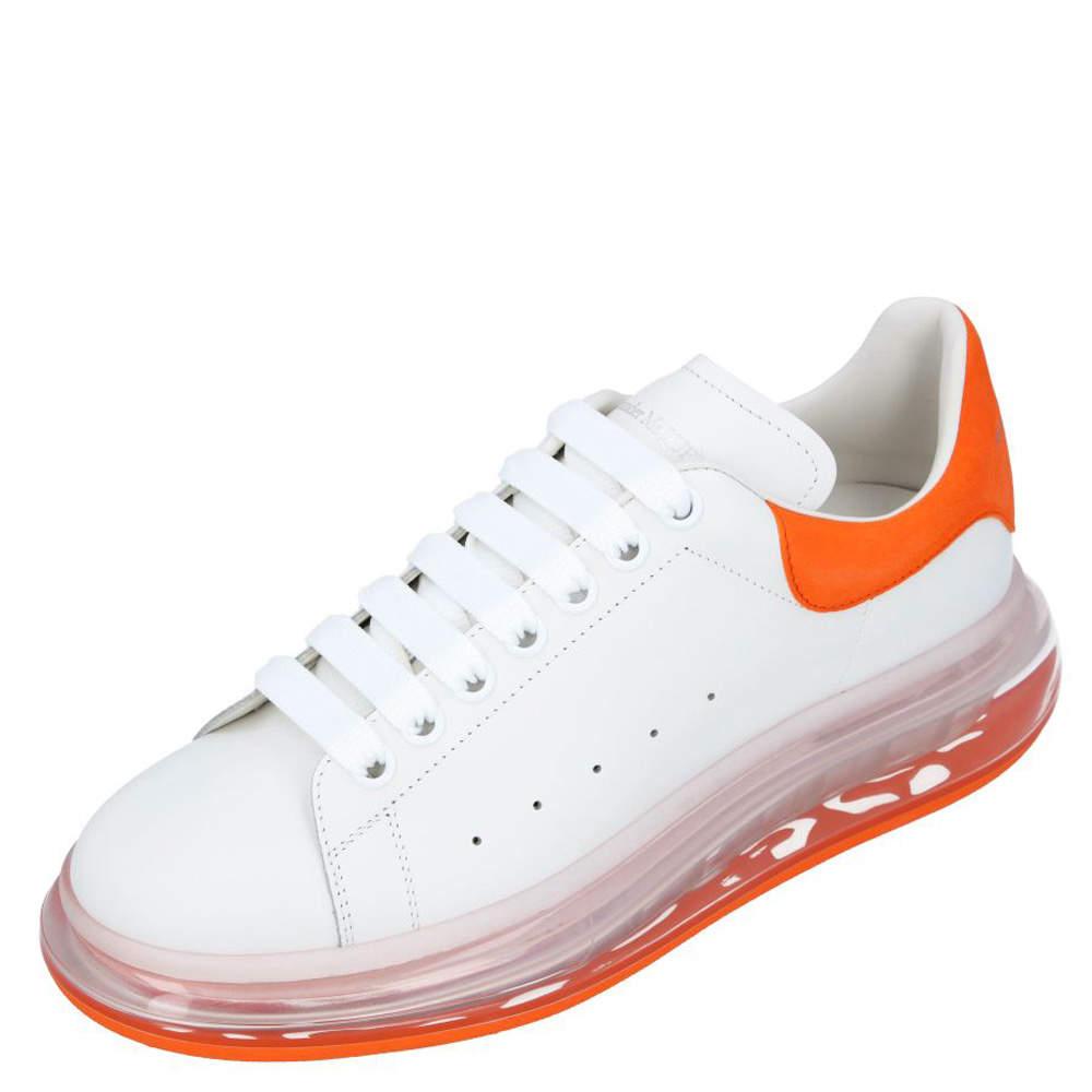 Alexander McQueen White/Orange Leather Oversized Clear Sole Sneakers Size EU 44