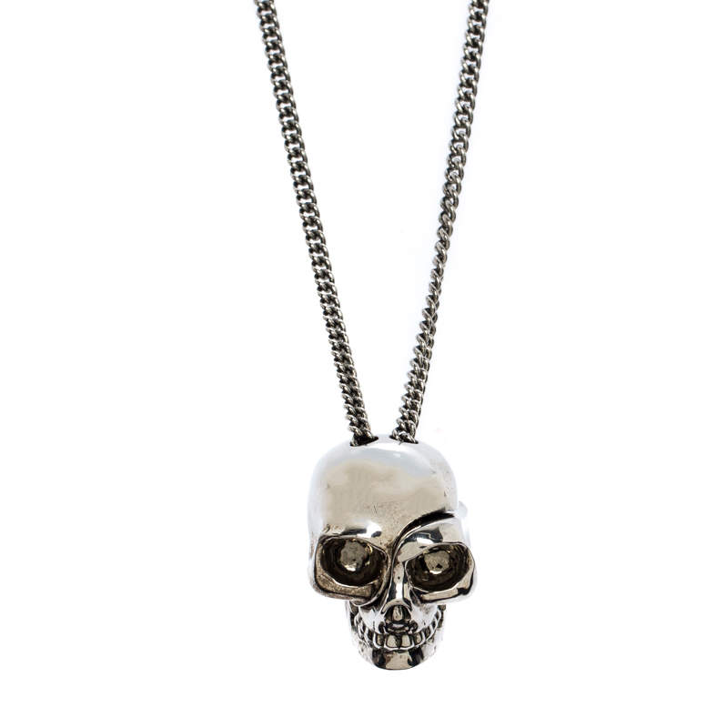 Alexander McQueen Antique Silver Tone Divided Skull Pendant Necklace